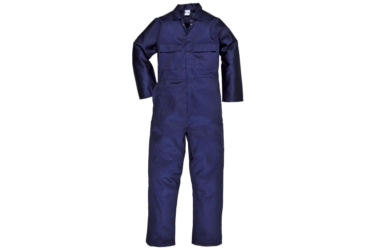 Portwest Mens Euro Work Polycotton Coverall (S999) / Workwear (Pack of 2) (Navy) (L x Long)