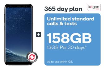 Samsung Galaxy S8 Refurbished (64GB, Midnight Black) + Kogan Mobile Prepaid Voucher Code: MEDIUM (365 Days | 13GB Per 30 Days)