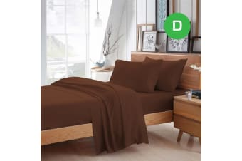 Double Size Chocolate Color Poly Cotton Fitted Sheet Flat Sheet Pillowcase Sheet Set