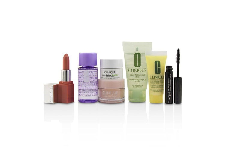 Clinique Travel Set: M/U Remover 30ml+Facial Soup 30ml+Moisture Surge 15ml+DDML 15ml+Moisture Cream 7ml+Mascara 2.5ml+Lip Color 2.3g 7pcs
