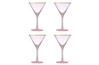 Ladelle Chloe Martini Glass Set of 4 Peach Gold