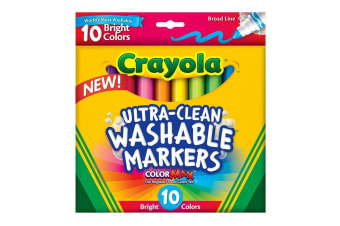 Crayola Ultra Clean Washable Markers in  Bright Colours - 10 Pack