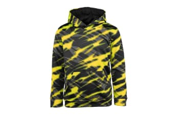 Champion Boys' Printed Performance Pullover Hoodie (Yellow/Black Zig Zag, Size XL)