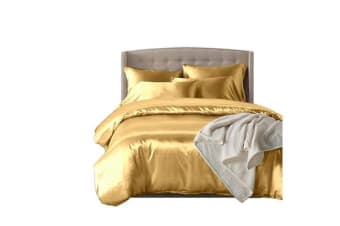 Dreamz Satin Duvet Cover Pillowcases Set CHAMPAGNE - Double