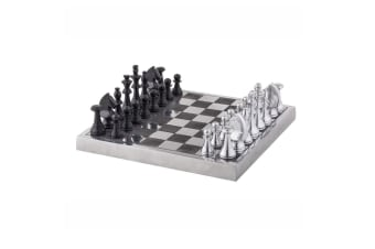 Society Home 34cm Metal Corbin Chess Board Pieces Set Game Toy Decor Silver BLK