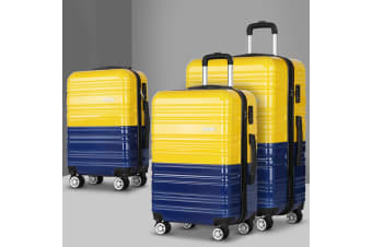 3pc Luggage Sets Suitcase Yellow Trolley TSA Hard Case Lightweight