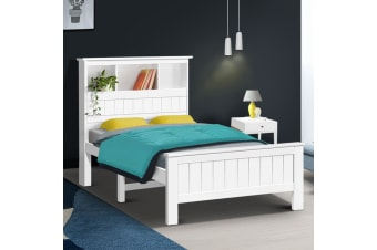 Artiss King Single Bookshelf Bed Frame - White