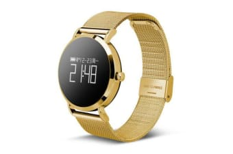 Bluetooth V4.0 Smart Watch Heart Rate Blood Oxygen 0.95&Quot; Oled Ip67 - Gold Metal