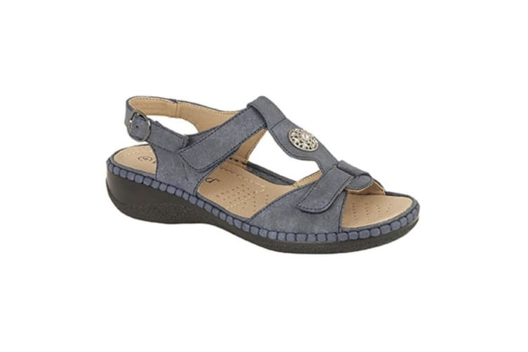 Boulevard Womens/Ladies Nubuck Touch Fastening Halter Back Applique Jewel Sandals (Navy) (6 UK)