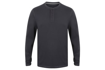 Front Row Mens Washed Long Sleeve Henley T-Shirt (Navy)