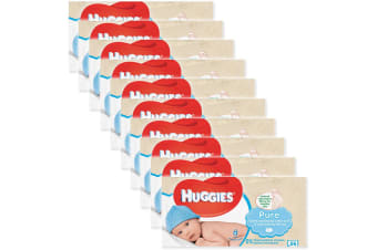 10x Huggies 56 Wipes Pure Soft Gentle Baby Wipe/Natural Fibres/Sensitive Skin