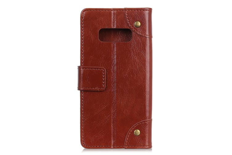 For Samsung Galaxy S10e Case Brown Nappa Texture PU Leather Wallet Cover