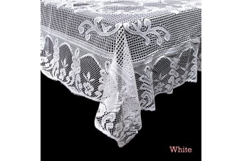 Daisy Lace Polyester Tablecloth White 150 x 225 cm