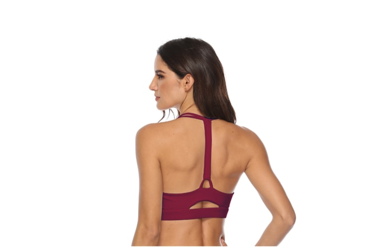Women'S Light Support T Back Wirefree Pad Yoga Sports Bra Wine Red Xl
