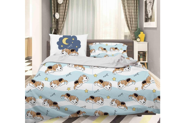 3D Cartoon Dog Dolphin Quilt Cover Set Bedding Set Pillowcases 106-King