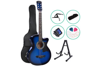 Alpha 38 Inch Wooden Acoustic Guitar Classical Folk Full Size w/ Bag Capo Blue