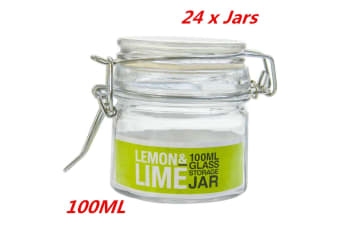 24 x 100ml Glass Jars Clip Lock Lids Glass Jars Wedding Favors Bomboniere Lolly Jar