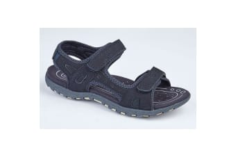 PDQ Ladies/Womens Twin Touch Fastening Sandals (Navy)