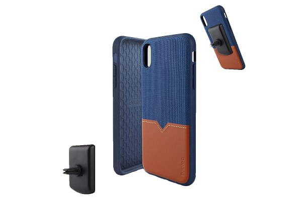 Evutec iPhone XS Max Northill Case with BONUS AFIX+ Magnetic Car Mount - Blue/Saddle