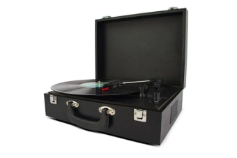Buddee Portable Suitcase Turntable w/Bluetooth Speaker/Built-in Battery - Black