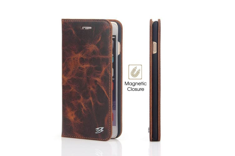 For iPhone 6S 6 Wallet Case Fierre Shann Genuine Cow Protective Leather Cover