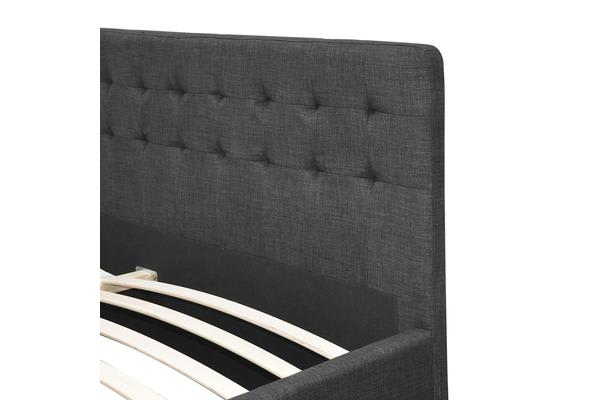 Double Size Fabric Bed Frame with Drawers  (Charcoal)
