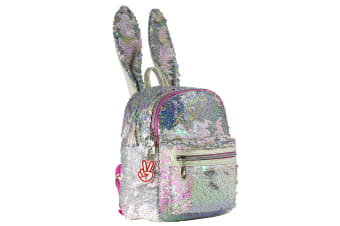 Glitter Critters Catch Me Sequin Kids Backpack w/Compartments/Straps Bunny