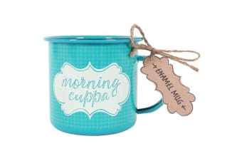 Something Different Morning Cuppa Enamel Mug (Blue) (One Size)