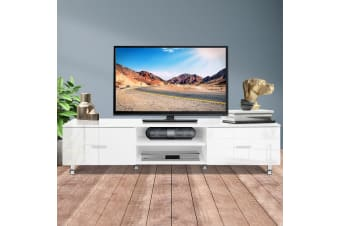 TV Cabinet Entertainment Unit Stand High Gloss 160CM Lowline White