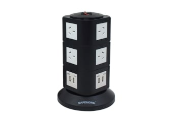 Safemore VPS Original Power Stackr 3 Level with 10 Power Outlets & 4 USB - Black/White (SM-GL2U003-BW)