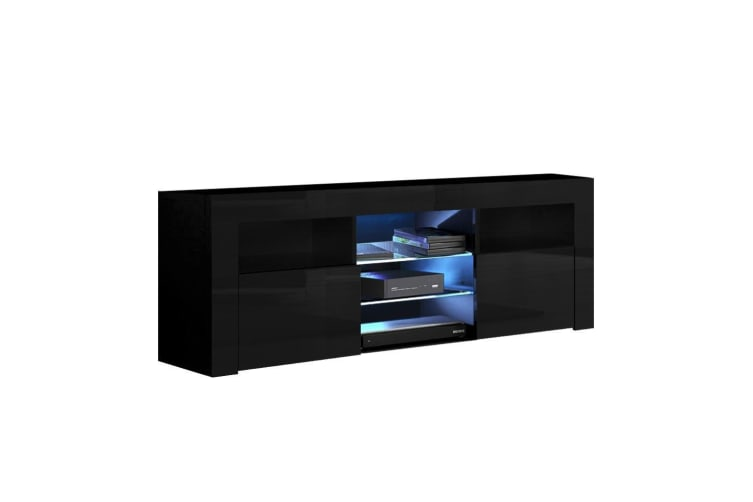 TV Cabinet Entertainment Unit RGB LED Stand Gloss 145cm Black