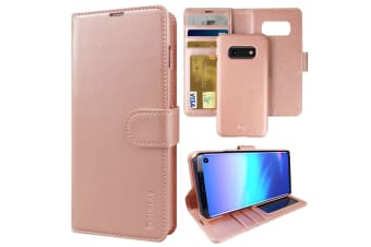 ZUSLAB Galaxy S10e Genuine Leather Detachable Case with Credit Card Holder Slot Wallet for Samsung - Rose Gold