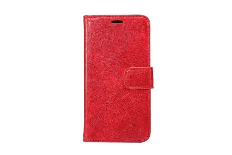 For iPhone XS X Wallet Case Elegant Horse Texture Protective Leather Cover Red
