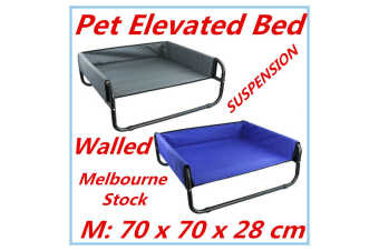 Grey Bed Elevated Pet Dog Cot Outdoor Indoor Large Raised Frame Steel Walled 70 cm D