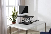 Ergolux Lite Height Adjustable Sit Stand Desk Riser (Small, Black)