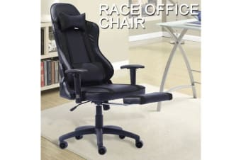 Gaming Racing Office Chair PU Leather with Footrest BLACK