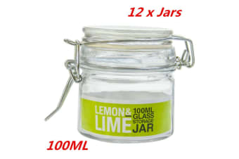 12 x 100ml Glass Jars Clip Lock Lids Glass Jars Wedding Favors Bomboniere Lolly Jar
