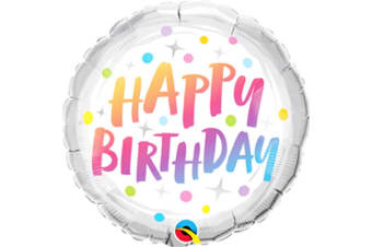 Qualatex 18 Inch Round Birthday Dots Foil Balloon (Rainbow) (One Size)
