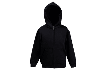 Fruit Of The Loom Childrens/Kids Unisex Hooded Sweatshirt Jacket (Black)