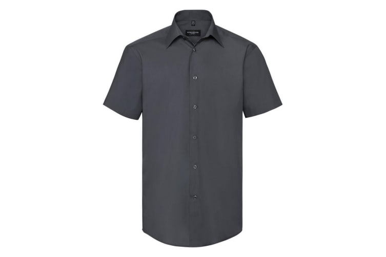 Russell Collection Mens Short Sleeve Poly-Cotton Easy Care Tailored Poplin Shirt (Convoy Grey) (2XL)