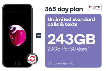 Apple iPhone 7 Plus Refurbished (128GB, Black) + Kogan Mobile Prepaid Voucher Code: LARGE (365 Days | 20GB Per 30 Days)