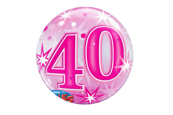 Qualatex 22 Inch 40th Birthday Pink Starburst Bubble Balloon (Pink) (One Size)