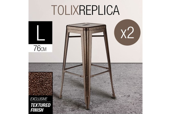 2x Bronze 76cm Metal Bar Stools- Replica Tolix