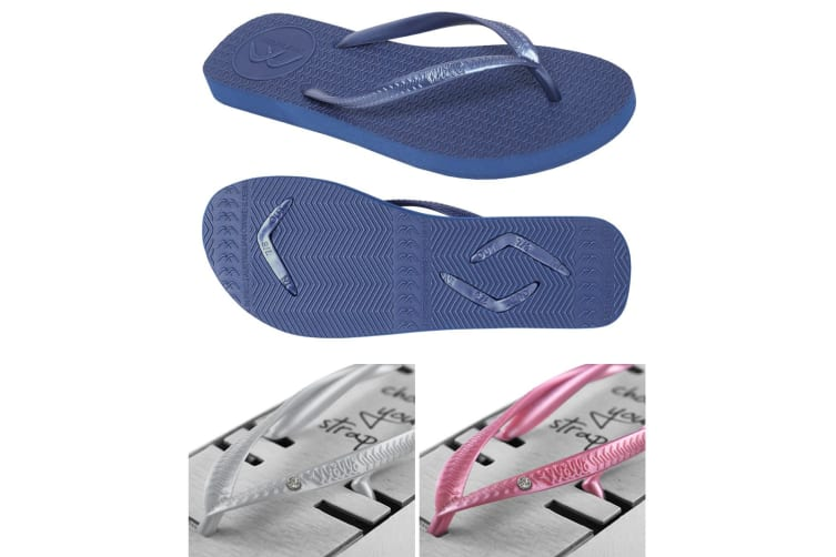 Women's Navy Slim Thongs with 2x Pairs of Interchangeable Grey and Pink Diamante Straps Size 7/8