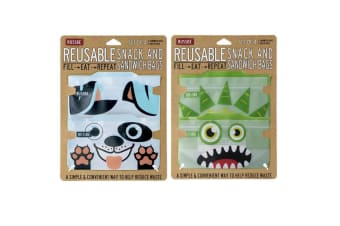 Russbe Reusable 4pc Blue Dog & 4pc Green Monster Snack & Sandwich Bag Combo Pack