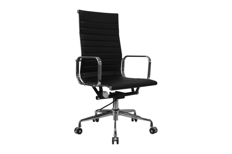 Ergolux Eames Replica High Back Ribbed Office Chair - Executive Collection (Black)