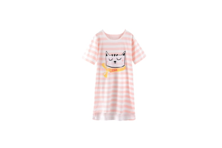 Nightgowns For Girls Cotton Pajamas Dresses Short Sleeve - 1 Pink 120Cm