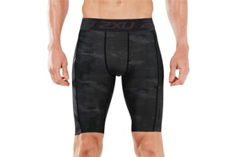 2XU Men's Accelerate Print Compression Short (Grey, Size S)