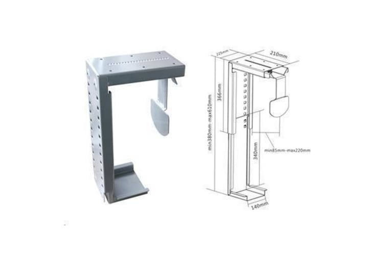 Brateck CPT-07 Under Desk PC Holder Wall mount and table desk mount compatible Adjustable Width
