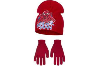 Marvel Ultimate Spider-Man Childrens Boys Web Slinging Hat And Gloves Set (Red)